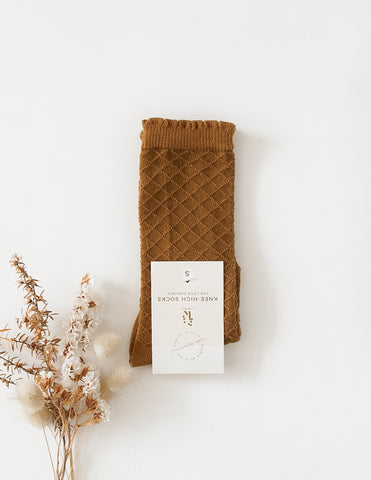 Picnic Knee-High Socks - Chestnut
