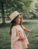 Mama Daughter Straw Boater Sun Hat - Pink Ribbon