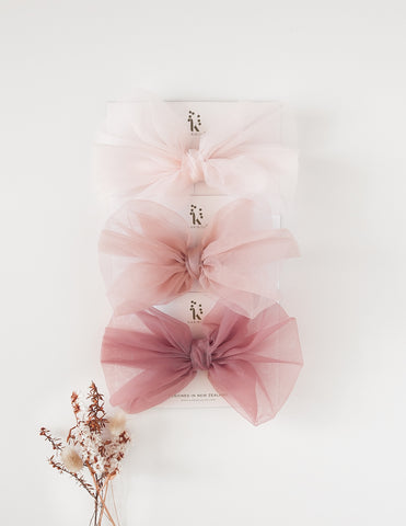 Mia Vintage Organza Bow  Hair Clip - 3pc Pack - Pinkish Delight