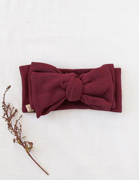 Ribbed Oversized Bow Headwrap in Plum
