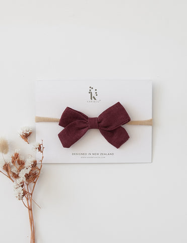 Lulu Linen Bow Headband or Clip - Plum