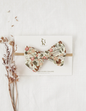 Poppy Cotton Bow Headband or Clip - Vintage Floral
