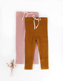 Ribbed Cotton Leggings - Vintage Gold
