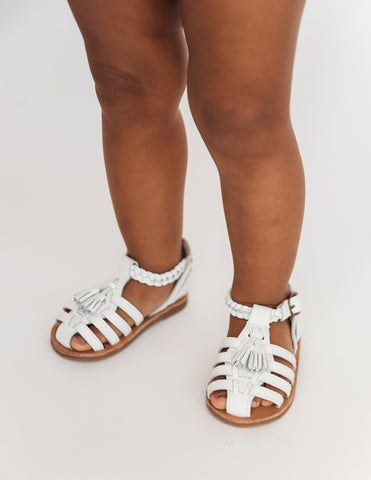 Santorini Genuine Leather Sandals - White