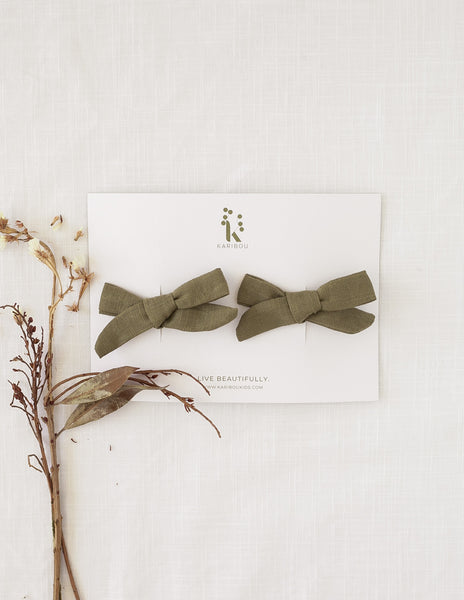 School Girl Linen Bow 2pc Clip Set - Olive Leaf