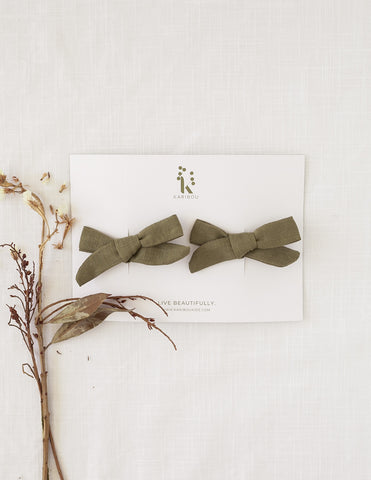 School Girl Linen Bow 2pc Clips or Headband - Olive Leaf