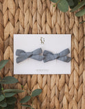 School Girl Linen Bow 2pc Clip Set or Headband - Dusty Blue