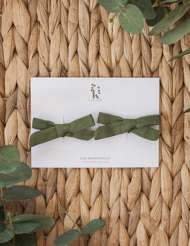 School Girl Linen Bow 2pc Clip Set or Headband - Forest Green