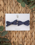 School Girl Linen Bow 2pc Clip Set or Headband - Navy