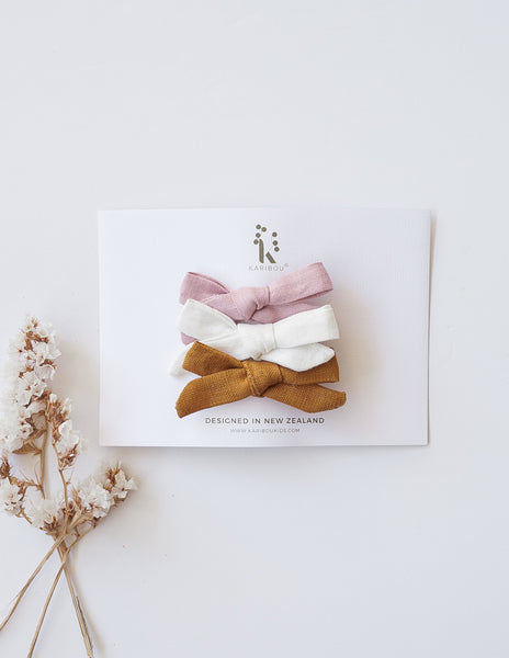 School Girl Linen Bow Hair Clip - 3pc Pack - Caramel and Marshmallow