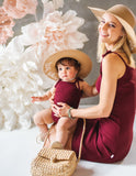 Sienna Cotton Sunsuit in Plum - New!