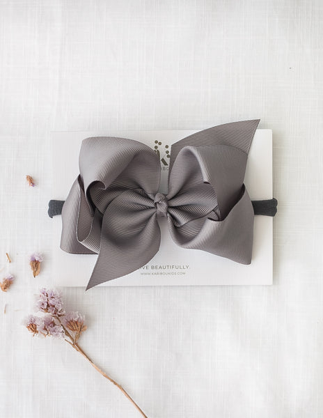 Sonya Statement Bow Headband in Slate