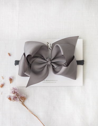 Sonya Statement Bow Headband in Grey