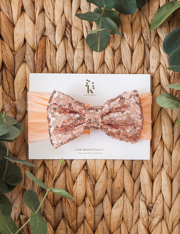 Sequin Sparkle Bow Headband - Copper & Peach