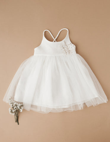 Willa Reversible Linen Tutu Dress in White - Garden Edition