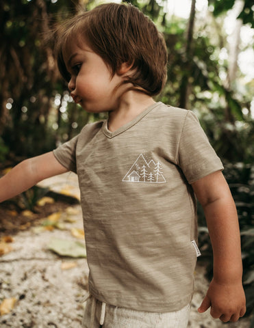 Little Explorer Boys Cotton Slub T-shirt - Herb
