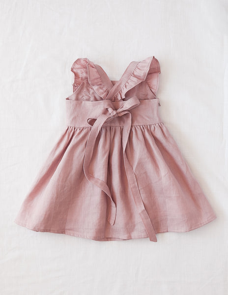 My Little Sunshine Linen Dress in Rose Blush