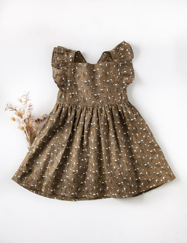My Little Sunshine Linen Dress in Cotton Puff Print - Antique Bronze
