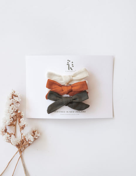 School Girl Linen Bow Hair Clips - 3pc Pack - Tangerine Garden