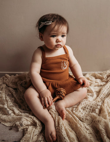 Ruby Cotton Rib Tank and Bloomer Set - Vintage Gold