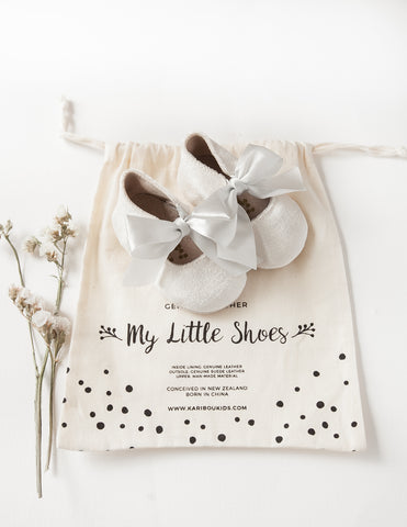 Victoria Velvet Baby Mary Jane Shoes - Silver and Cream