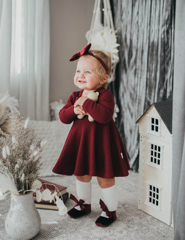 Ellie Long Sleeve Cotton Waffle Henley Dress - Cherry Red
