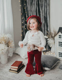 Little Mermaid Bell Bottom Velour Pants - Storybook Red