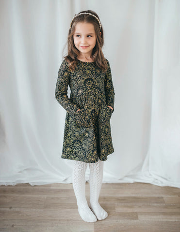Royal Visit Cotton Long Sleeve Pocket Dress - Emerald