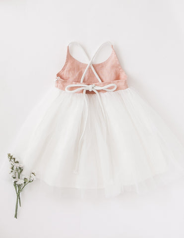 Willa Reversible Linen Tutu Dress - Peach Orchard