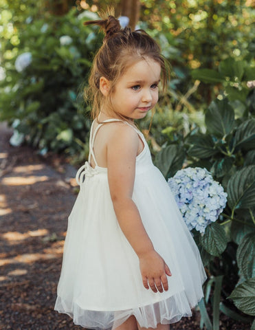 Willa Reversible Linen Tutu Dress - White Magic