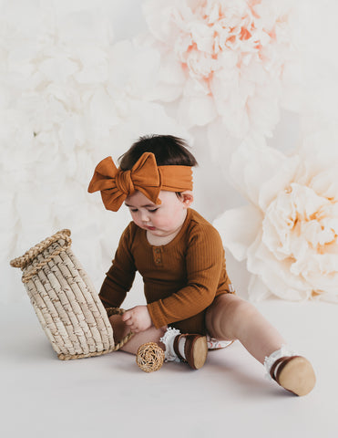 Willow Long Sleeve Cotton Bodysuit - Acorn
