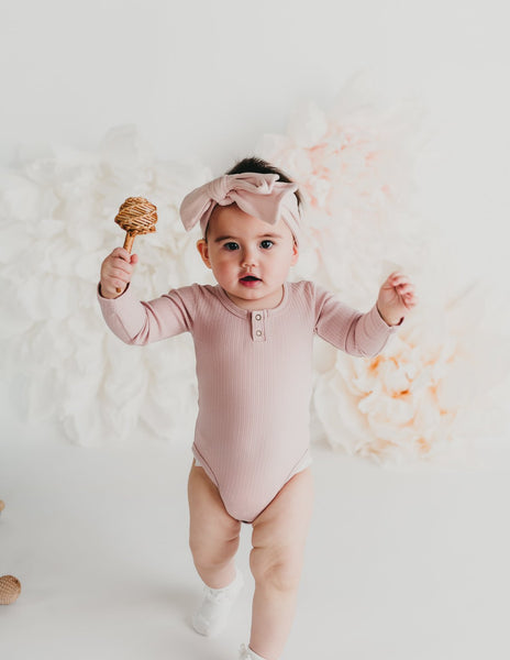 Willow Long Sleeve Cotton Bodysuit - Soft Pink