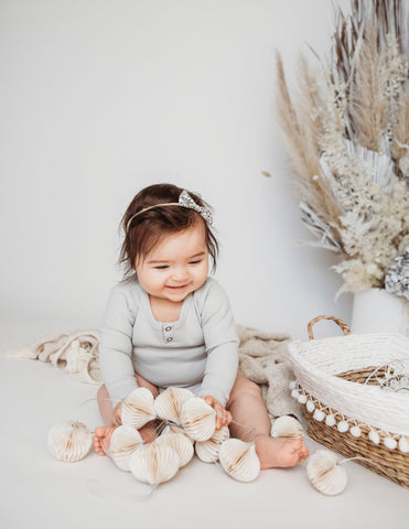 Willow Long Sleeve Waffle Cotton Bodysuit - Sky