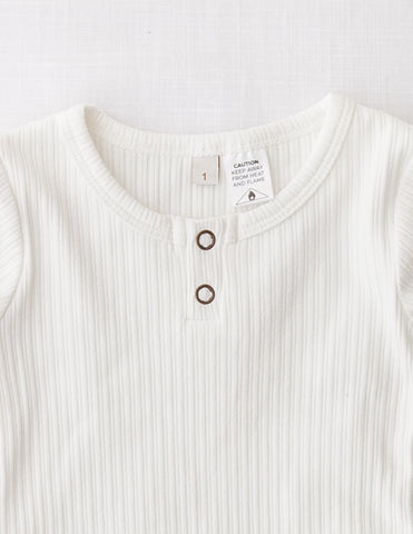 Willow Long Sleeve Henley Cotton Top - Warm White