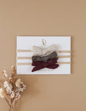 School Girl Linen Bow Headbands - 3pc Pack - Winter Cherry
