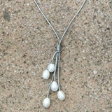 Leather and Pearl Drop Necklace