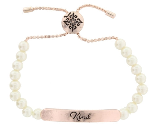 "White Pearl and Rose Gold ""Kind"" bracelet"
