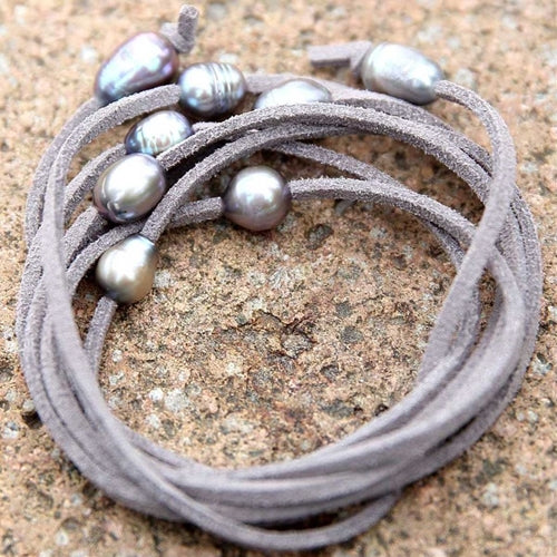 Grey Multi Use Suede and Pearl Rope