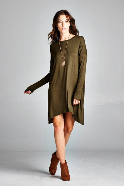 long sleeve solid tunic loose fit