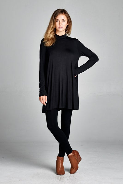 long sleeve jersey mock tunic neck