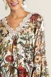 Floral print tunic with lace trim