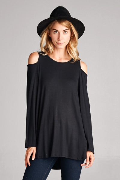 Cold shoulder long sleeve swing body
