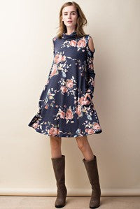 Mock neck floral dress with shoulder cut out