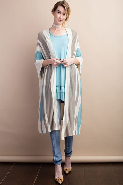Knitted color block open cardigan