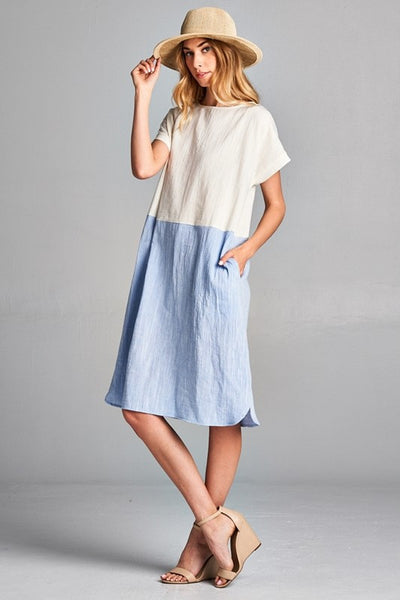 Cotton linen color block pocket dress with button closure