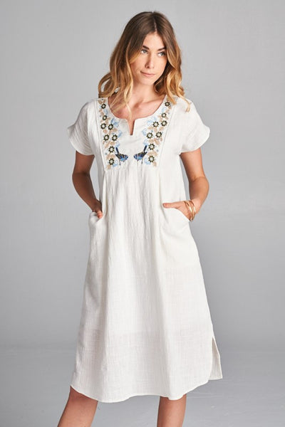 Embordiery linen dress