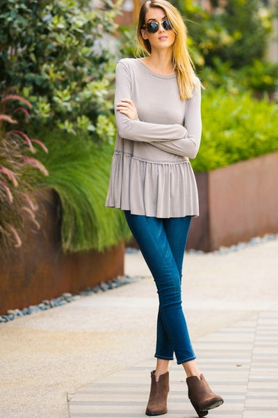 Long Sleeved Bottom Ruffled Top