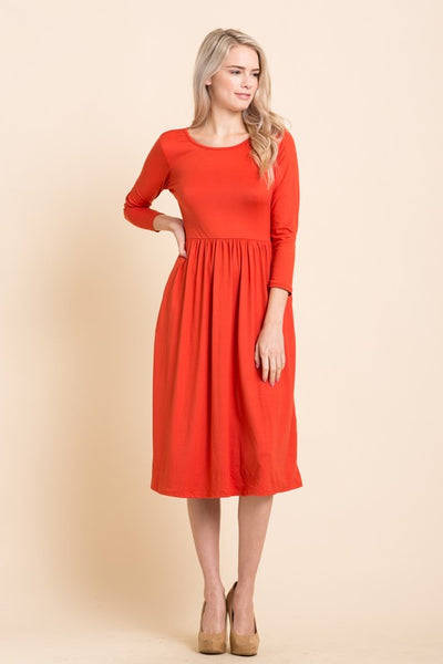 Basic Dress with Stirring Waist with 3/4 sleeves