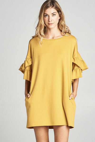 Ruffle Bell Sleeve Dress with Round Neck