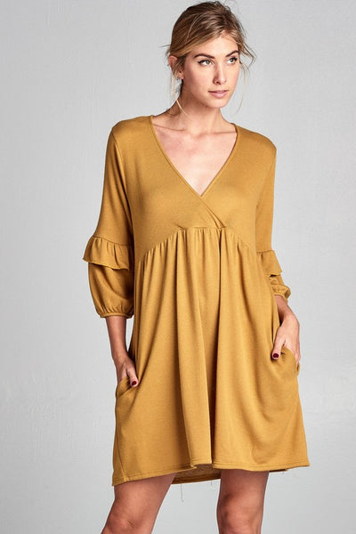 Babydoll V-Neck Dress with ruffle sleeves